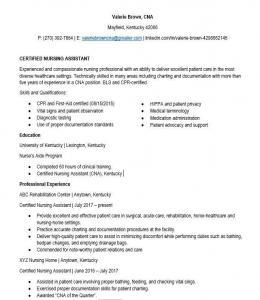 experienced cna resume template